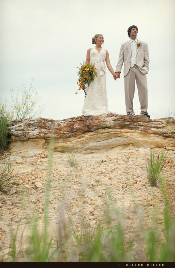 bride groom rock cliff canyon photographs