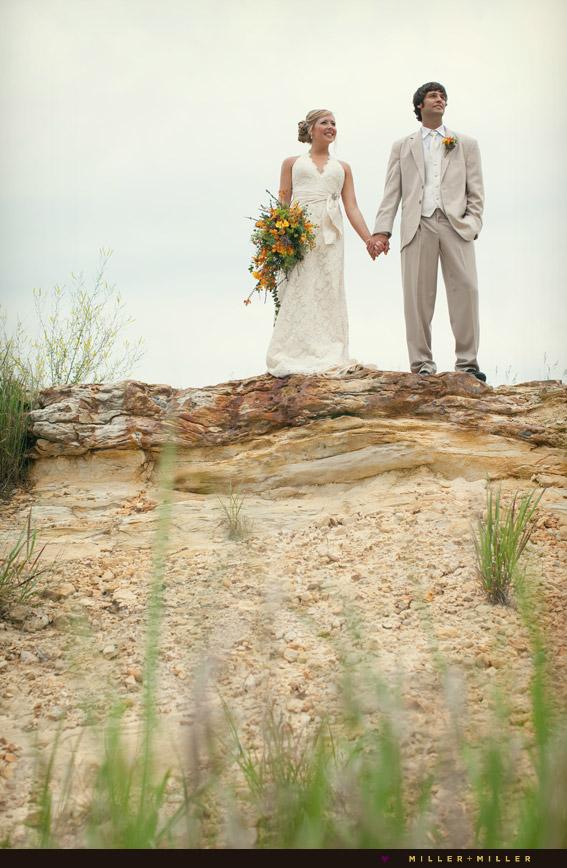 bride groom rock cliff canyon photographs