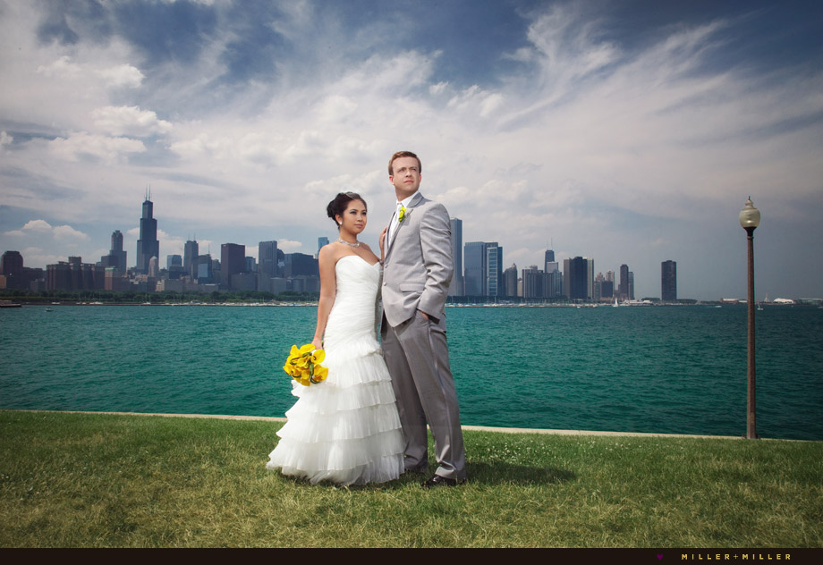 bride groom skyline chicago
