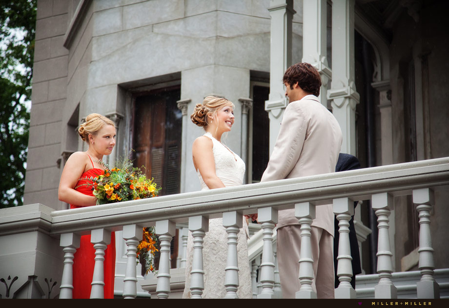 ceremony vows on staircase balcony