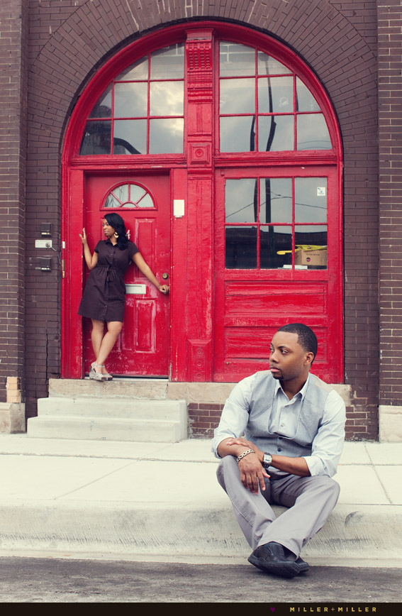 colorful red painted door engagement