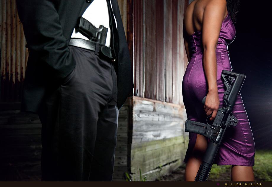 edgy celebrity portraits guns rifle weapon