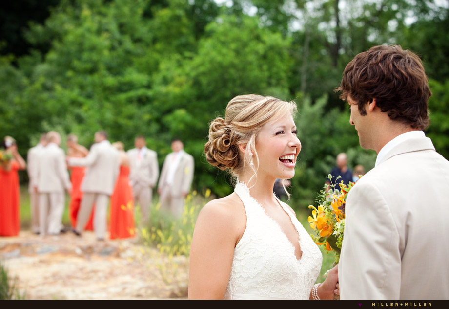 happy smiling bride first glance