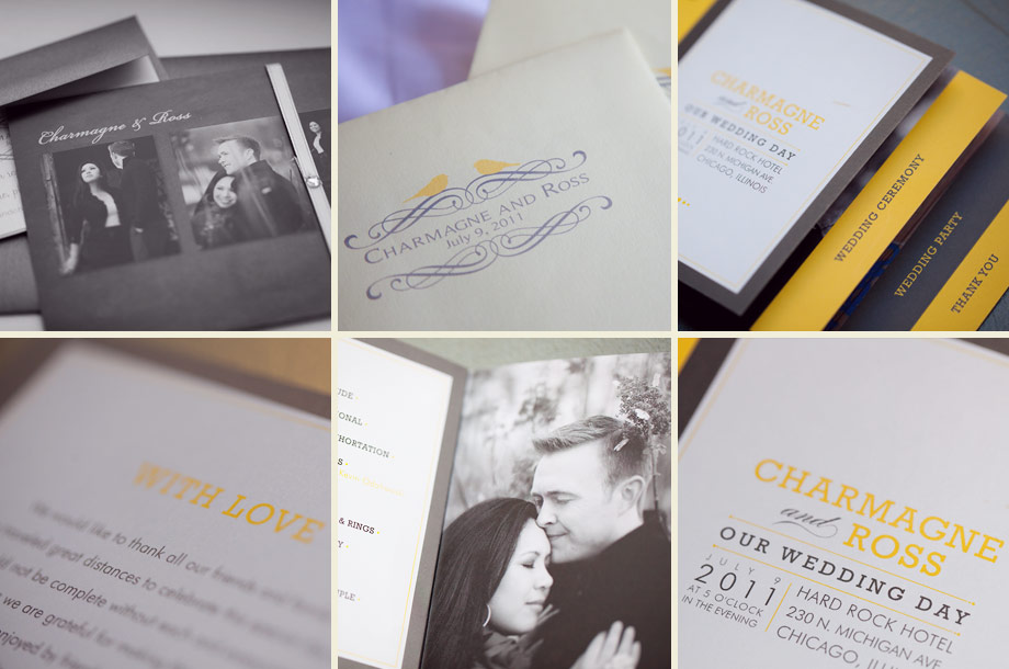 modern yellow gray invitations