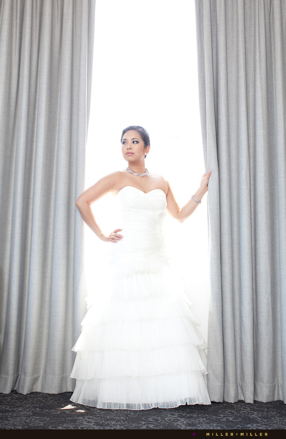 stylish couture bride modeling dress