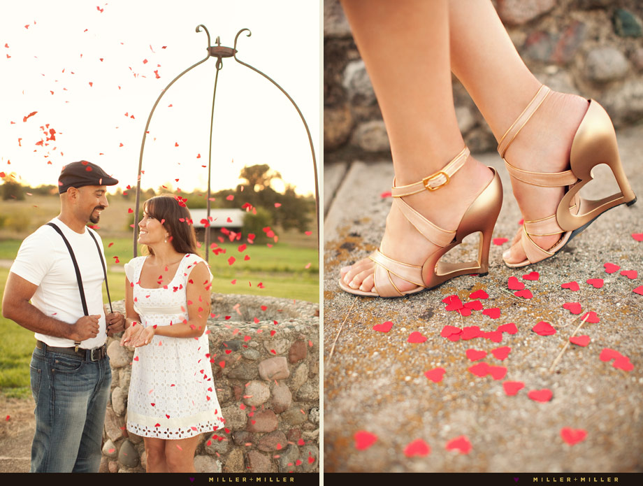 heart themed engagement session