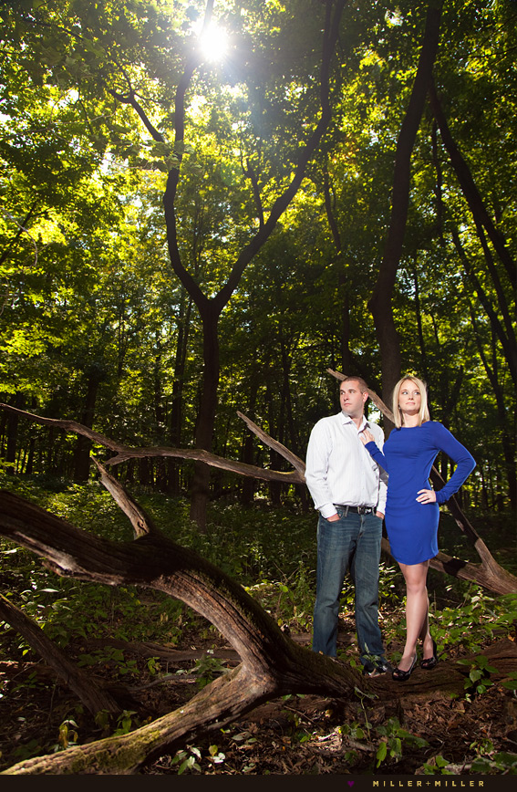 engagement photos wooded forest preserve