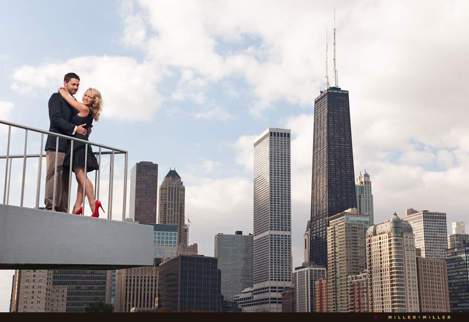 chicago skyline balcony portrait