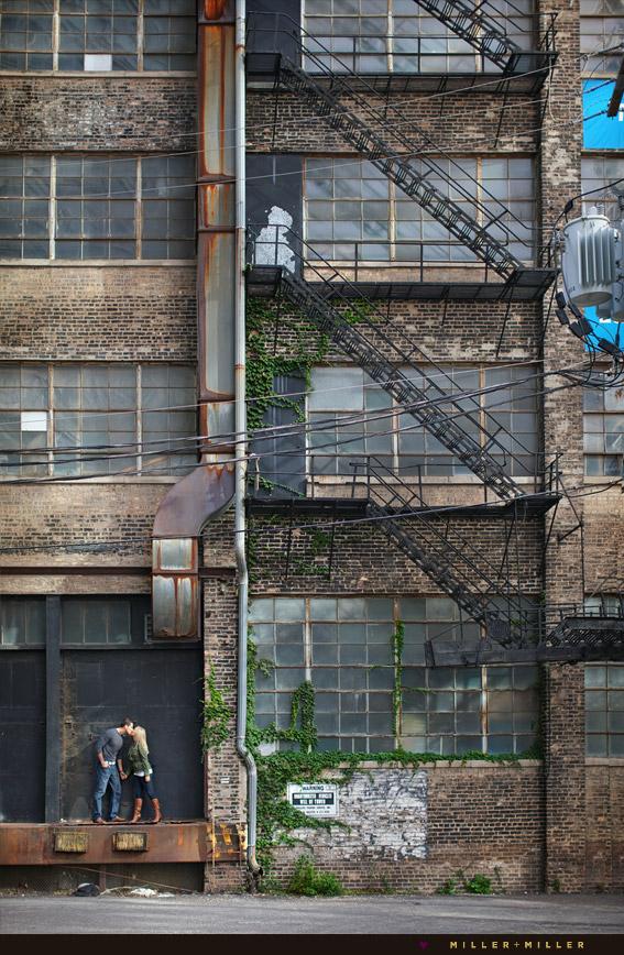 city warehouse loft brick fire escape