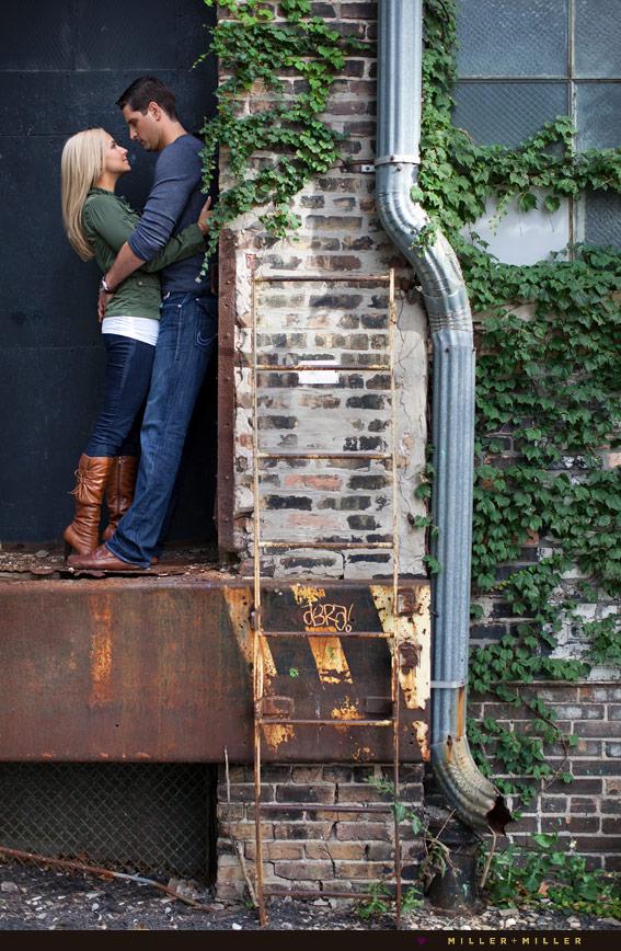 couple outside urban city loft photos