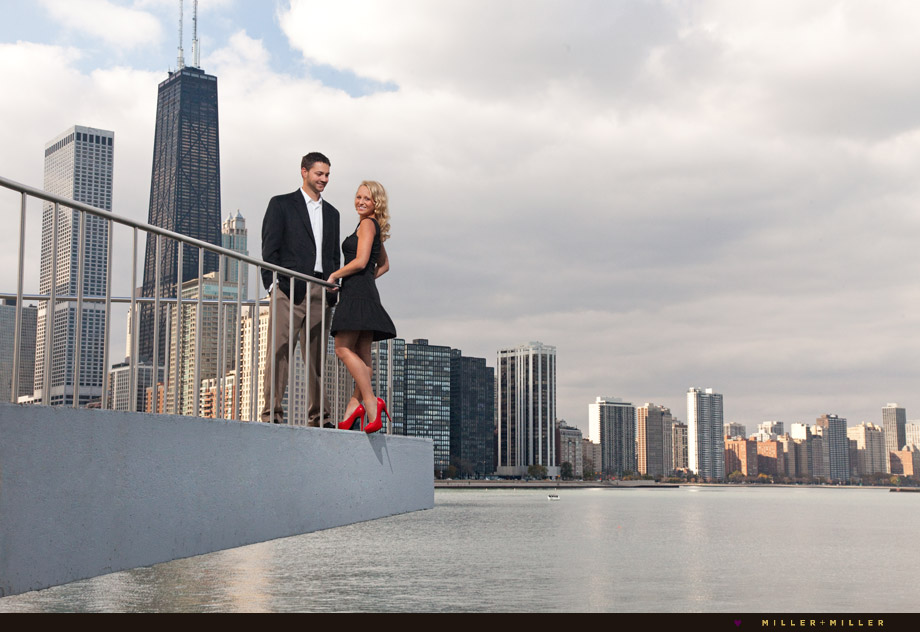 engagement photos on lake michigan