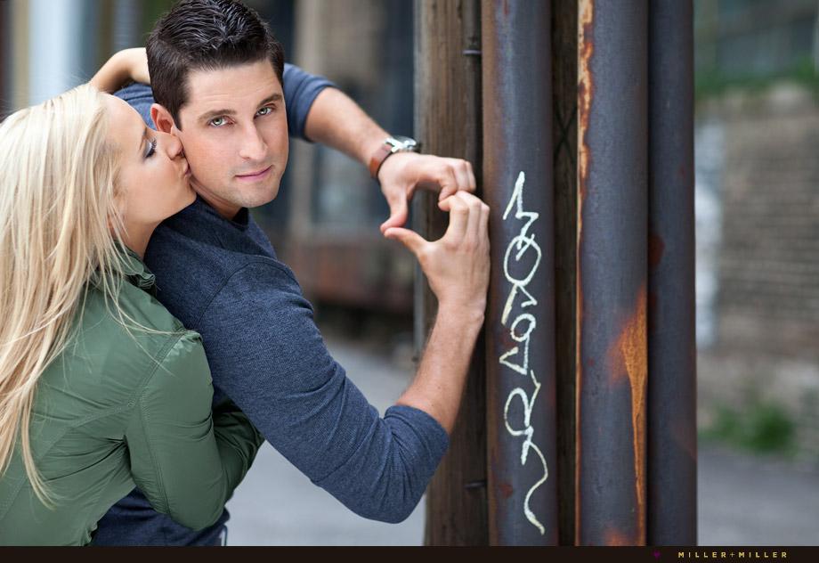 graffiti wall couple kissing