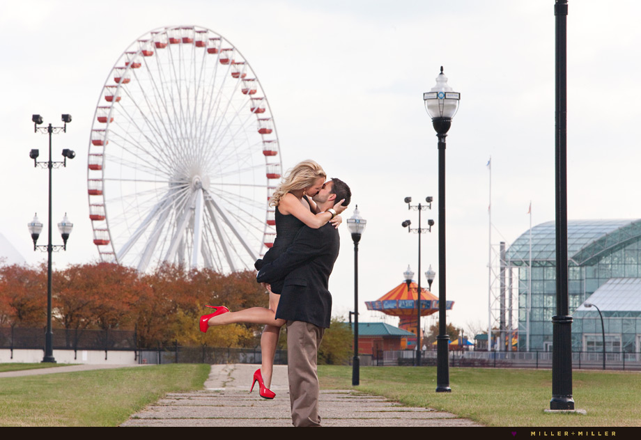 navy pier engagement photos