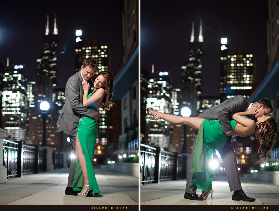 chicago river night engagement pictures