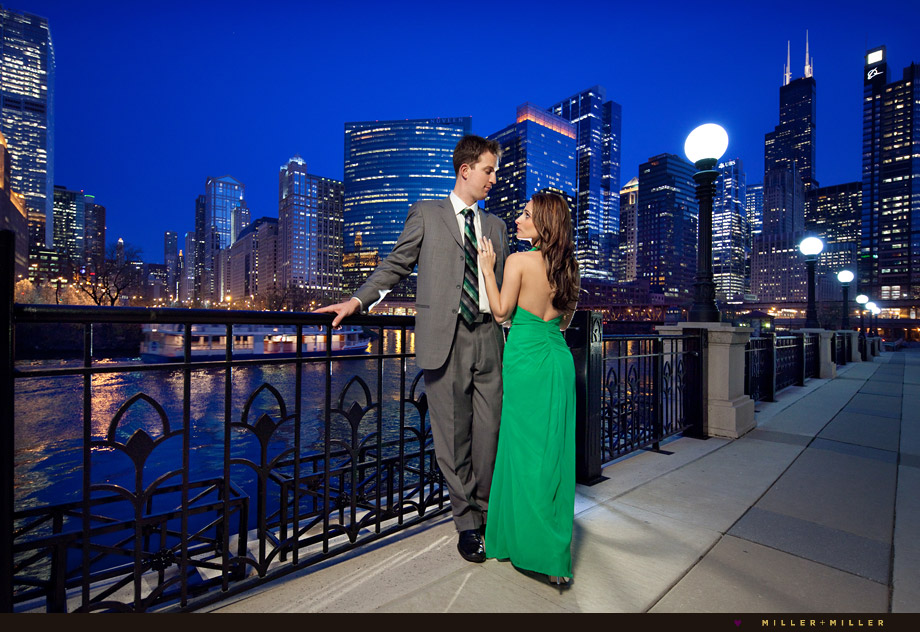 chicago river night skyline engagement photographs