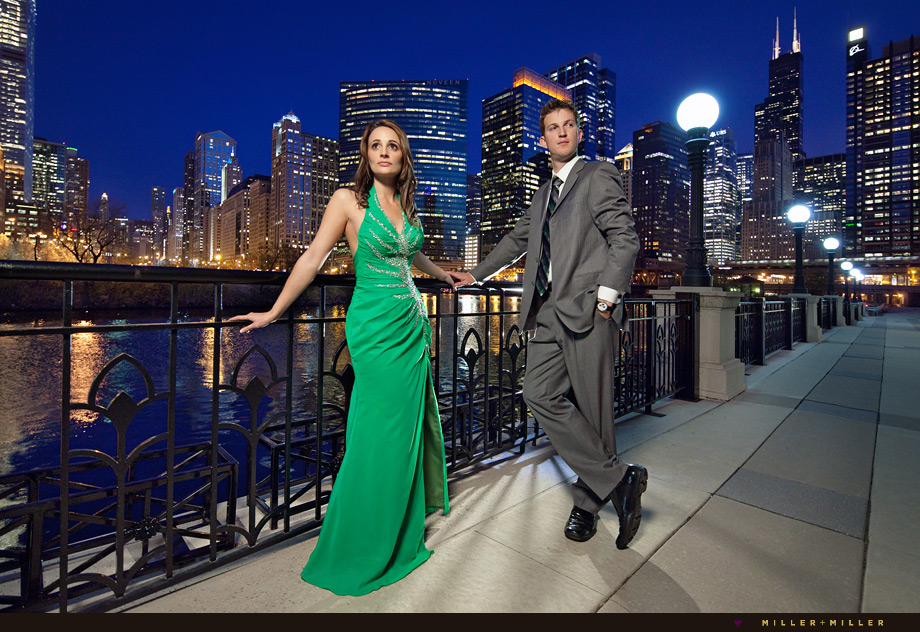 night engagement photography in Chicago