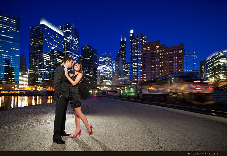 urban evening engagement photos