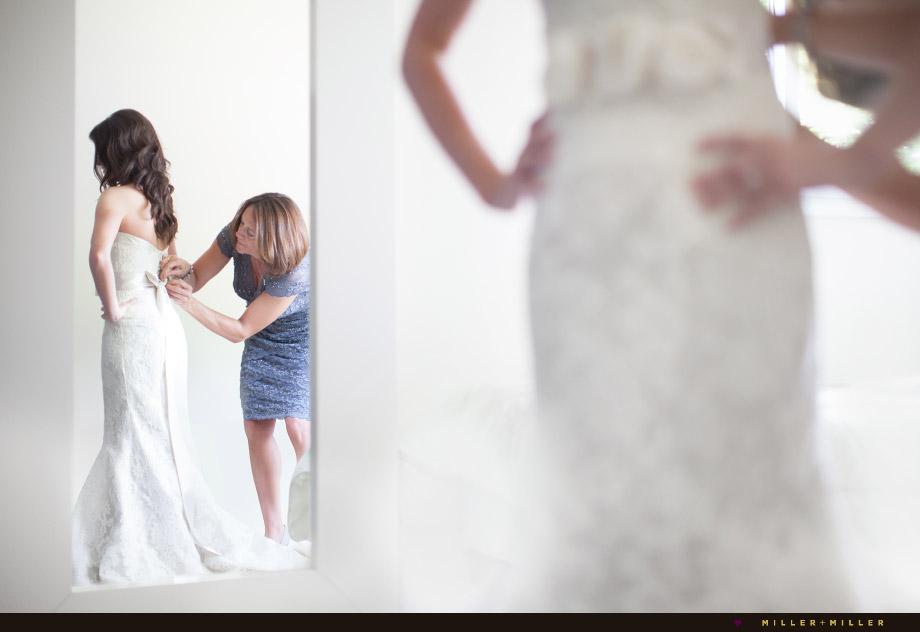 bride mom dressing mirror reflection
