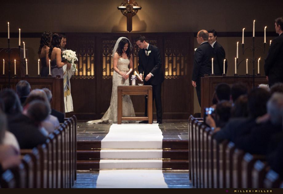 dark candle lit wedding ceremony
