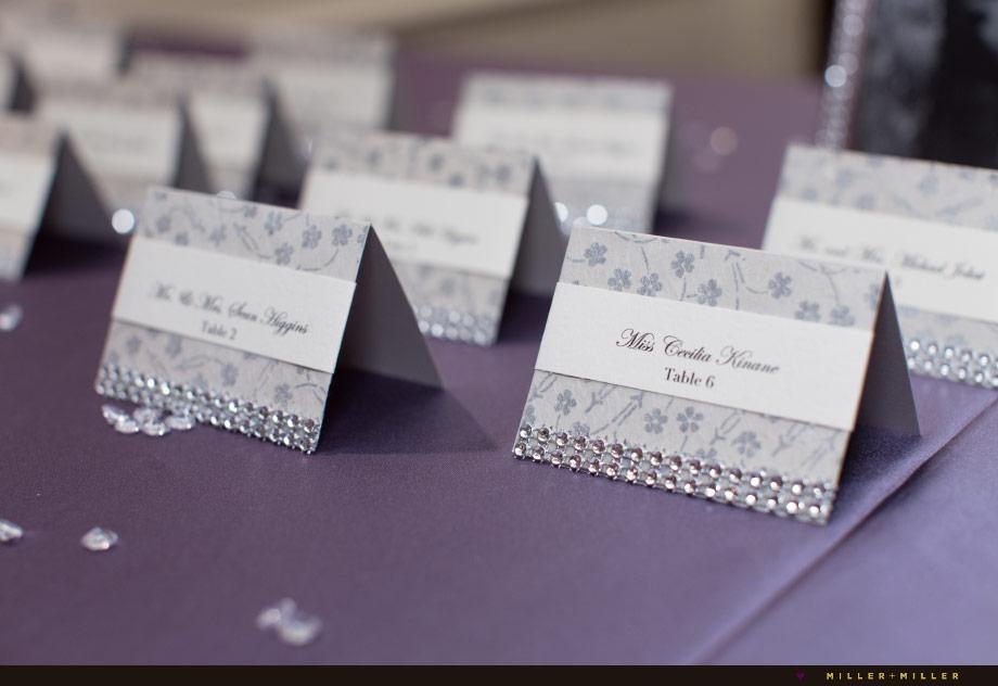 silver purple reception placecards