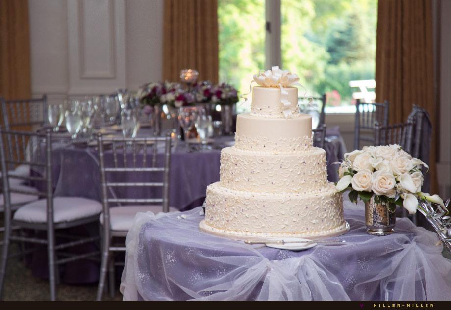 spring purple cream wedding cake