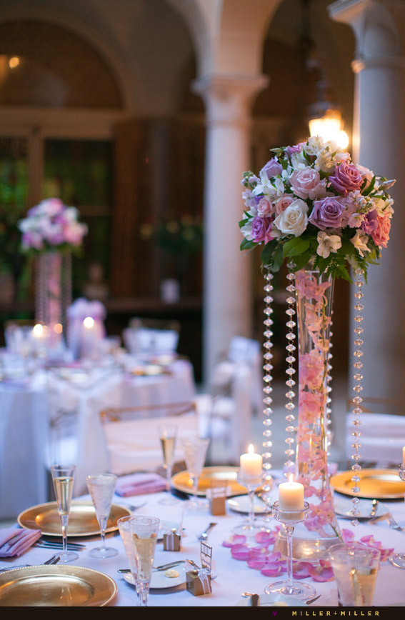 gold purple pink reception centerpieces