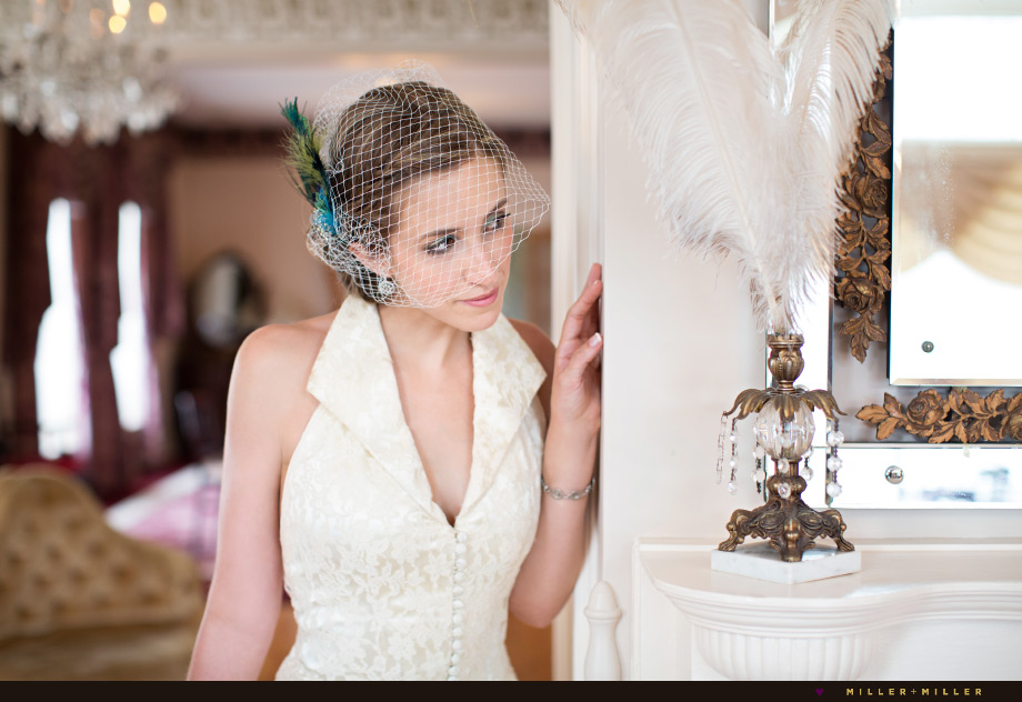feathers bride birdcage veil vintage fashion