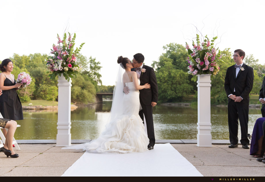 outdoor veranda ceremony kiss