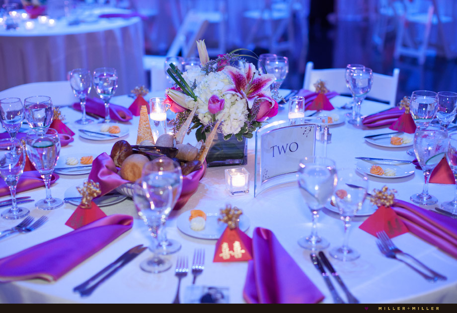 pink with purple reception lighting