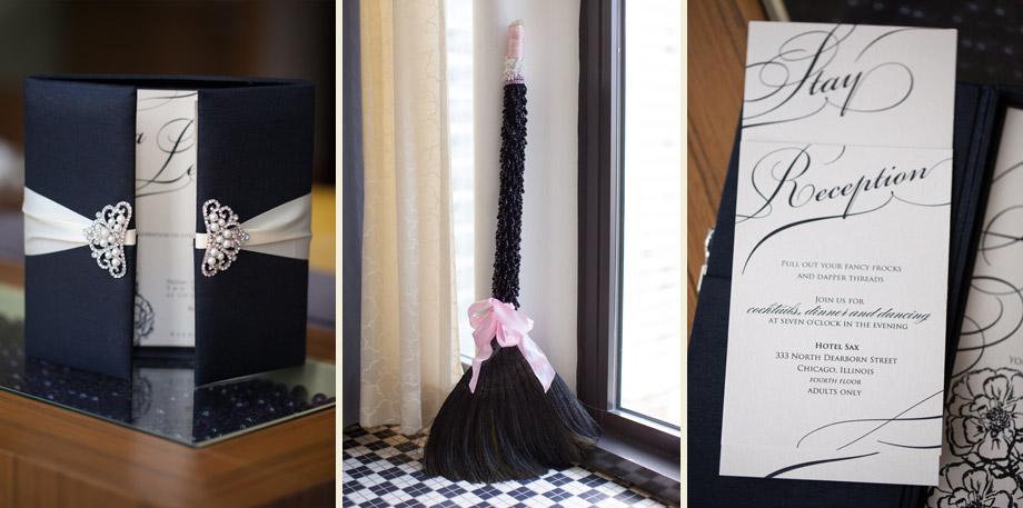 black pink handmade wedding broom