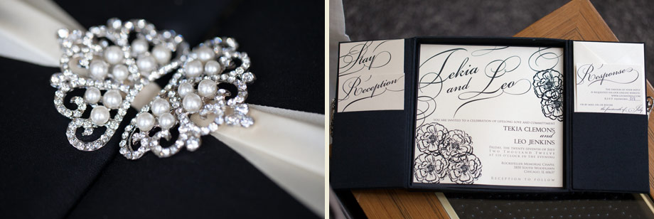 black white pearls ribbon invitation