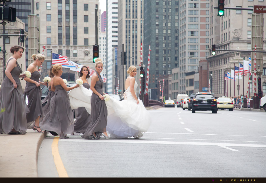 bride walking across street michigan avenue chicago bridge