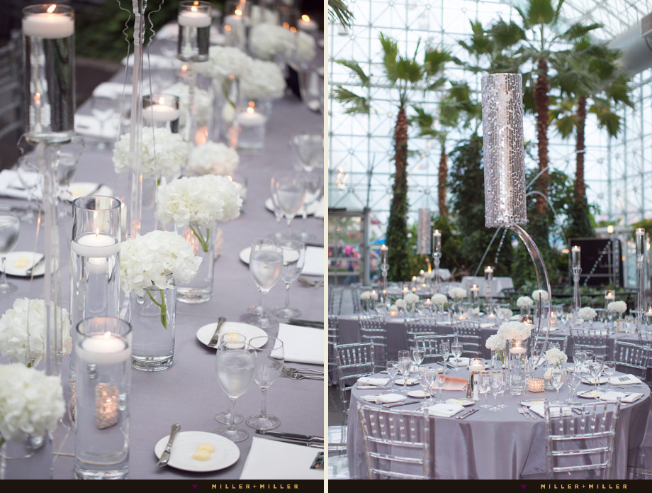 crystal clear chairs metallic tall silver gray white reception