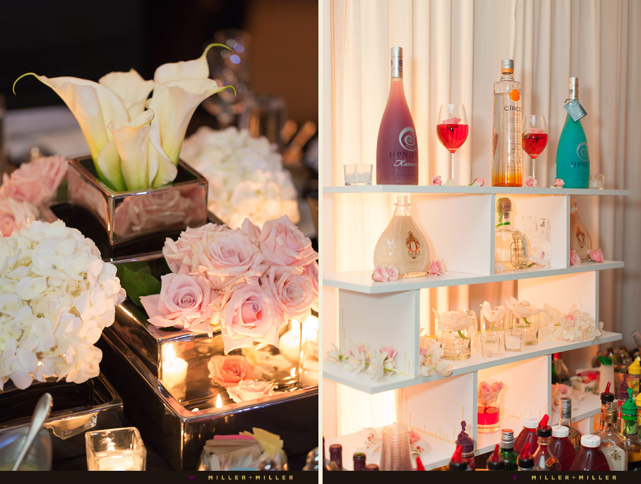 soft colored reception liquor bottles flowers