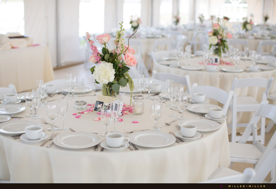 blush pink florals mason jar centerpieces