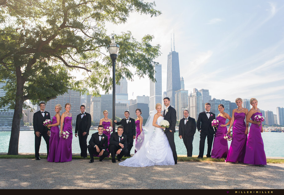 bridal party chicago skyline photographs