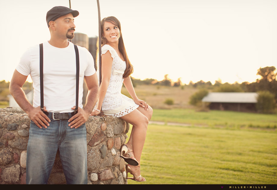 cute country inspired engagement portraits