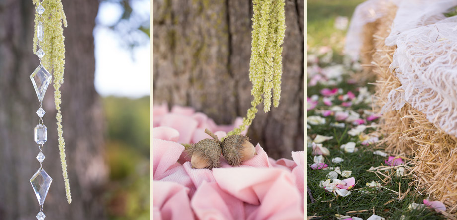 pink green flowers crystals hanging reception