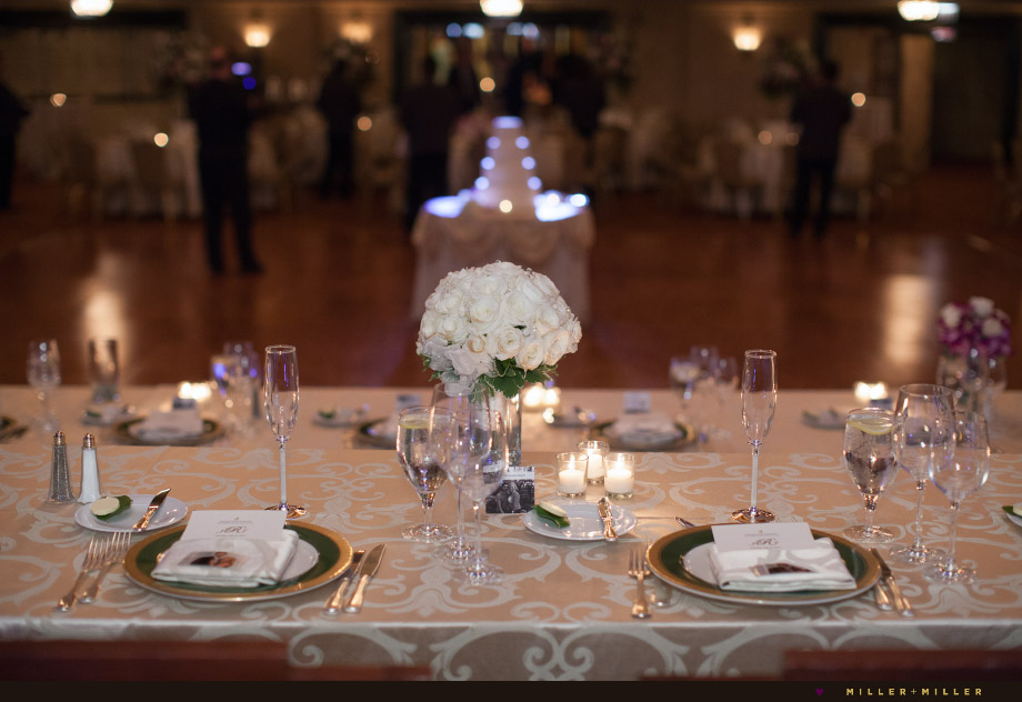 reception gold white green magenta