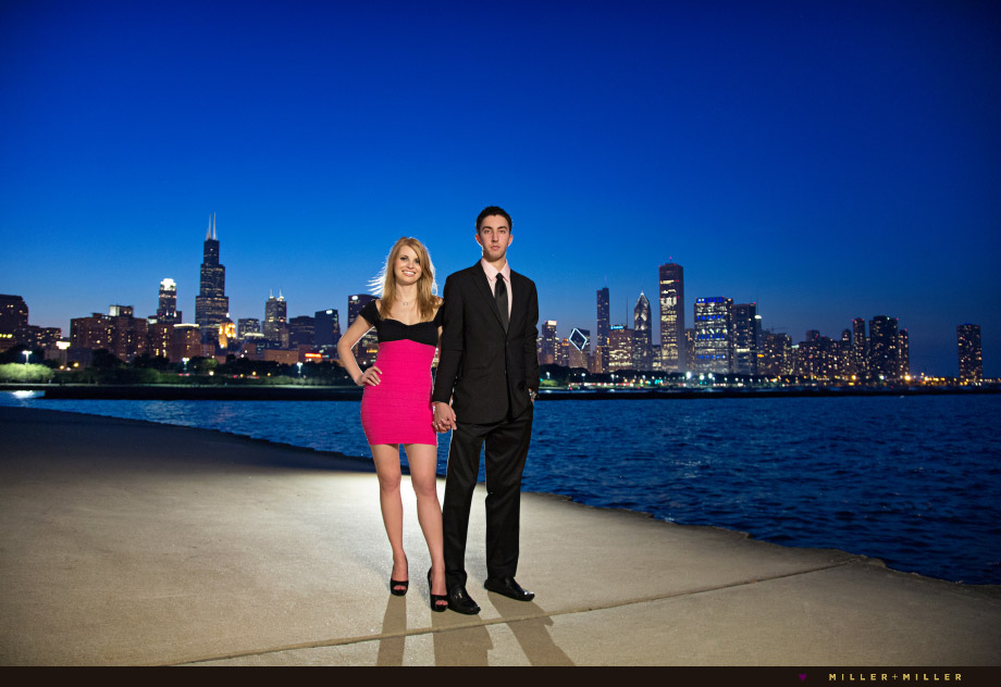 skyline engagement photos chicago lakefront