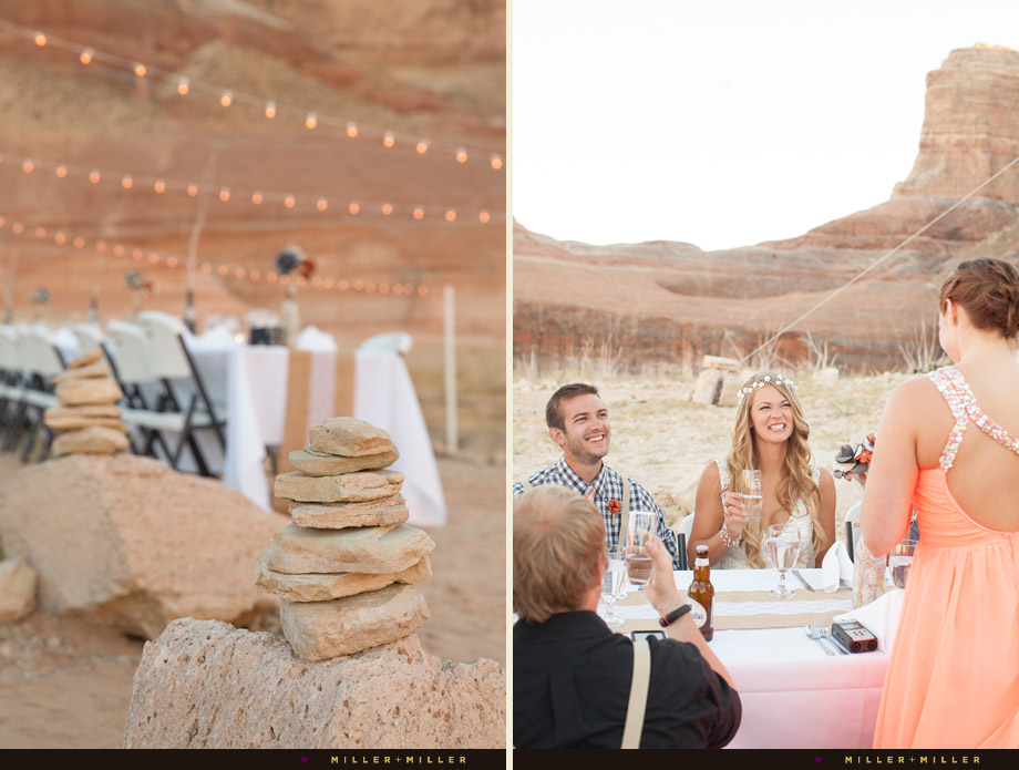 bohemian small intimate desert reception cairn rocks