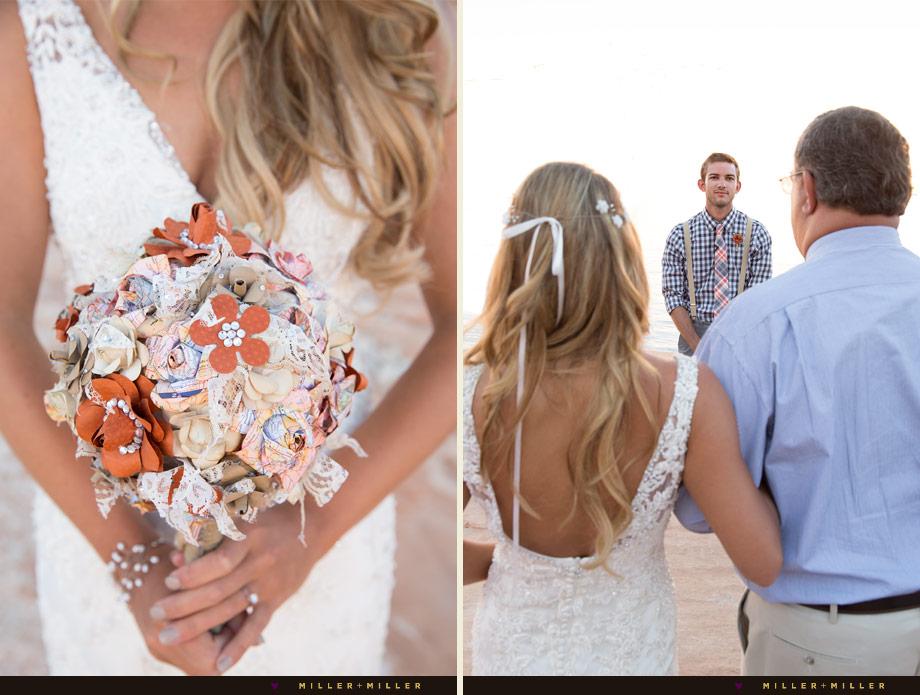 DIY paper wedding bouquet orange map pages