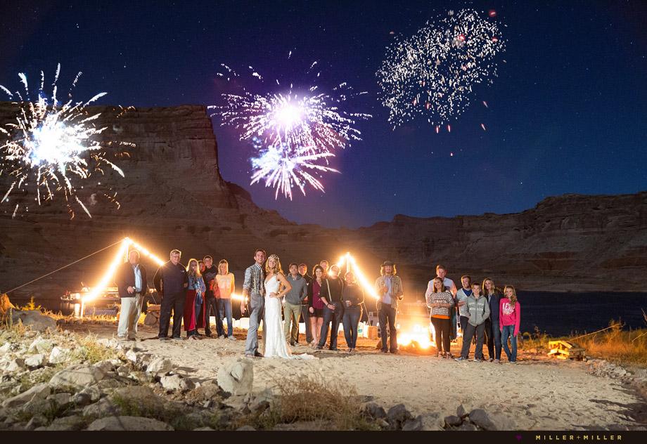 fireworks desert unique destination wedding