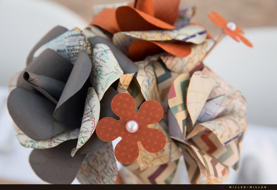 paper flowers centerpieces map whimsy vintage orange
