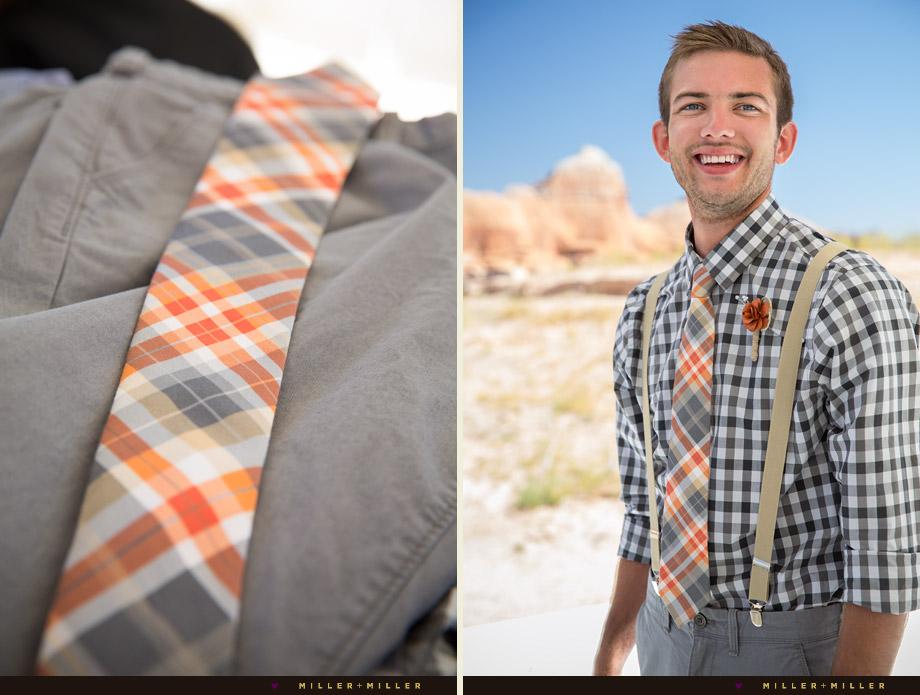 plaid checked shirt groom grey orange