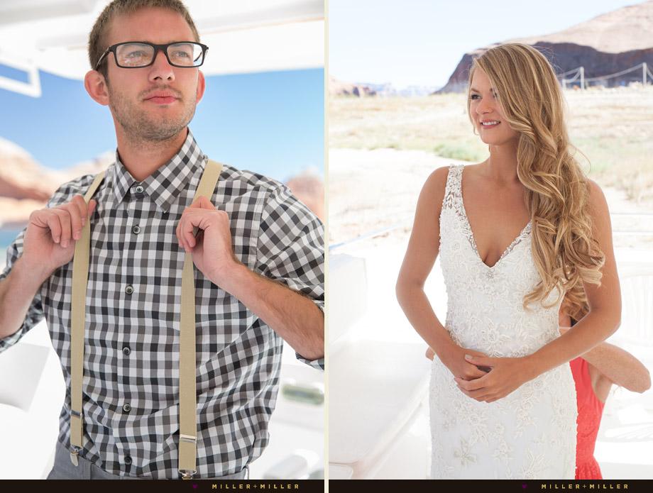 preppy groom grey plaid shirt suspenders
