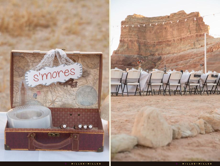 travel theme wedding smores