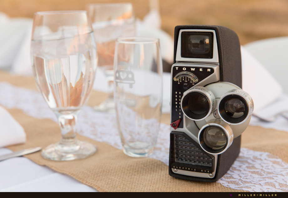 vintage cameras burlap lace head table