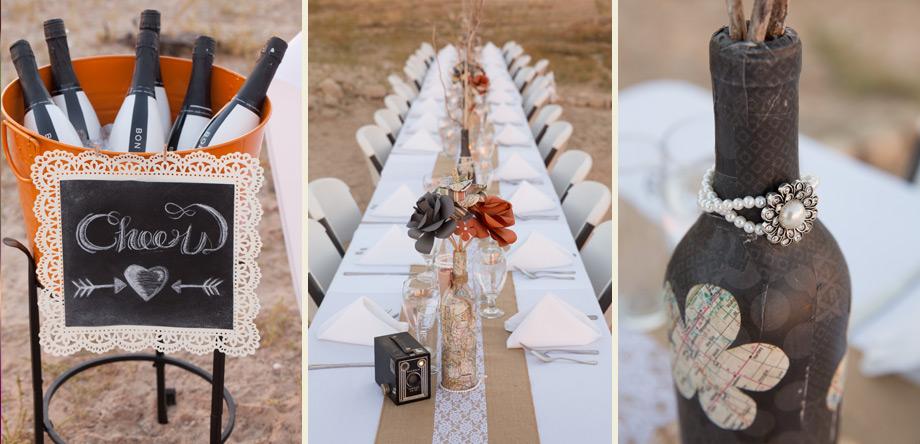 vintage orange grey burlap lace long wedding reception table