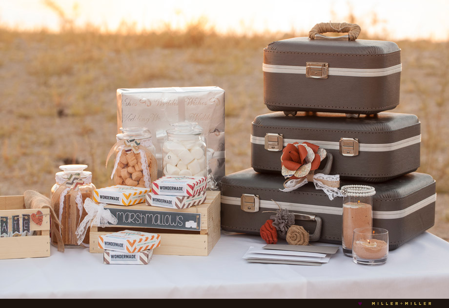 vintage suitcases outdoor desert wedding